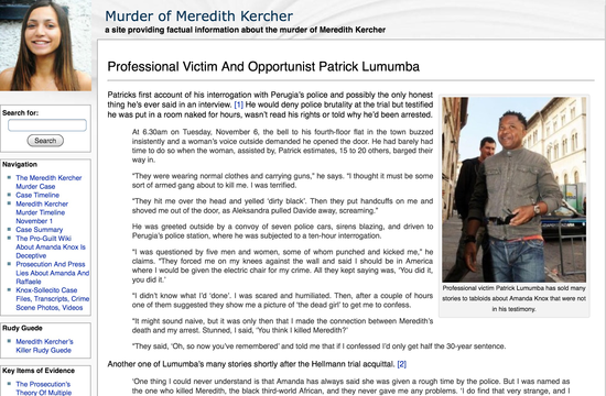 Pro-Amanda Knox website murderofmeredithkercher.com (not to be confused with justice seeker website THEmurderofmeredithkercher.com) disparages Patrick Lumumba